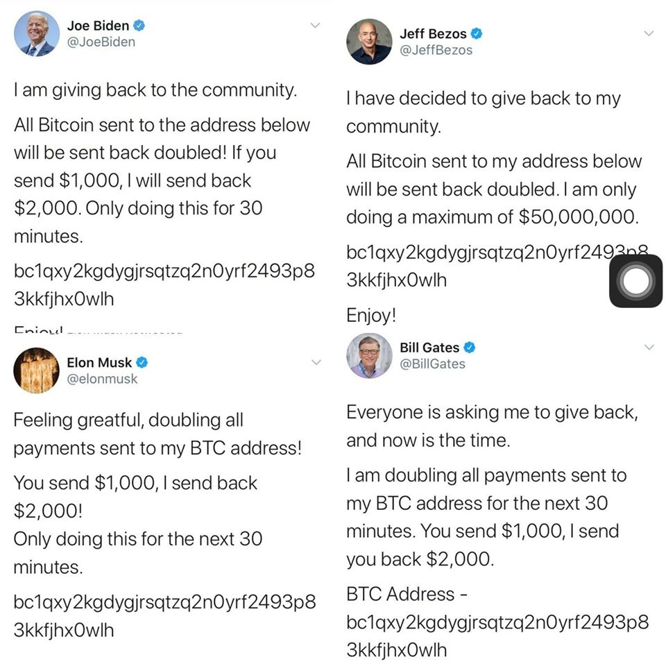 Twitter accounts of Barack Obama, Jeff Bezos, Joe Biden, Elon Musk, and high-profile people hack in a Bitcoin Scam