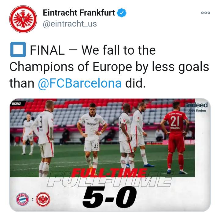 Eintracht Frankfurt mocks Fc Barcelona after Bayern loss