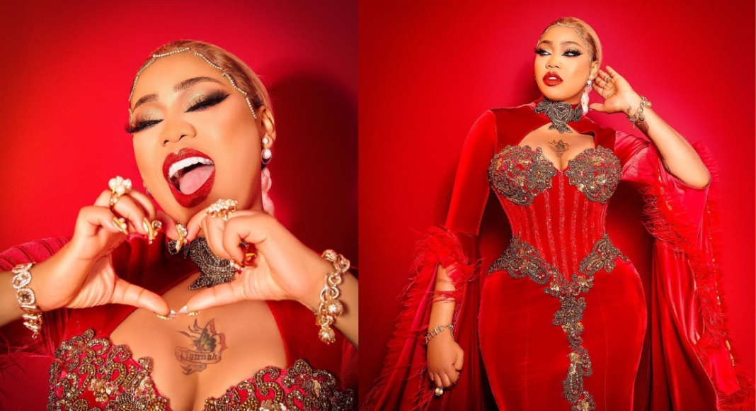 Ahead of valentine celebration, Toyin Lawani stuns in a red outfit