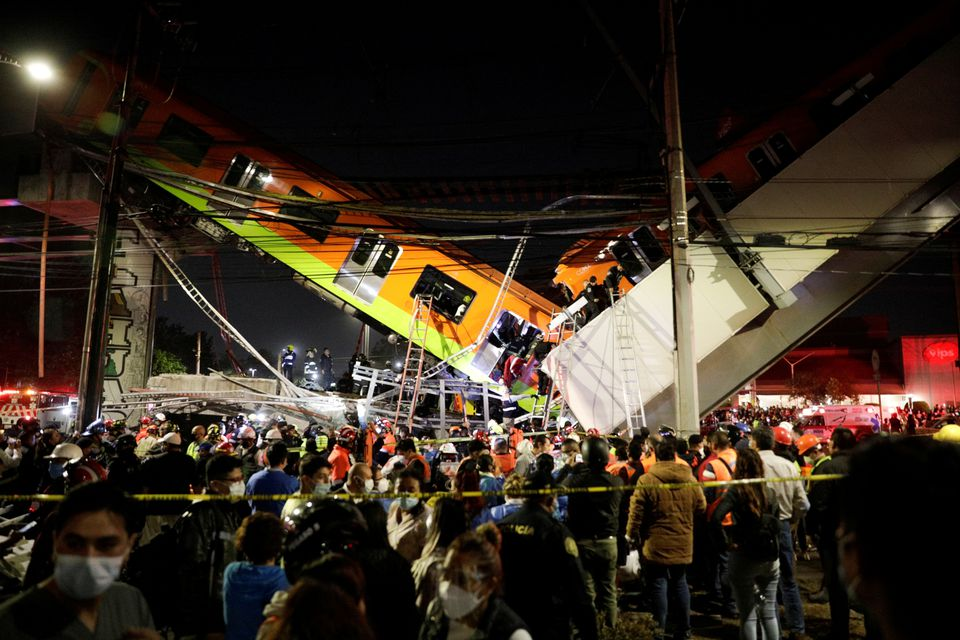 23 Dead, 70 Injured After Mexico City Metro Overpass Collapses Onto Road